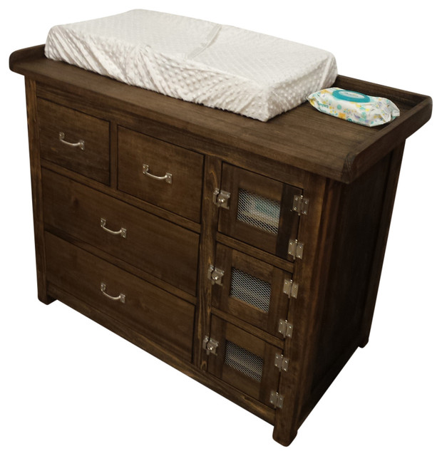 Dylan Baby Changing Table Dark Barn Wood Traditional