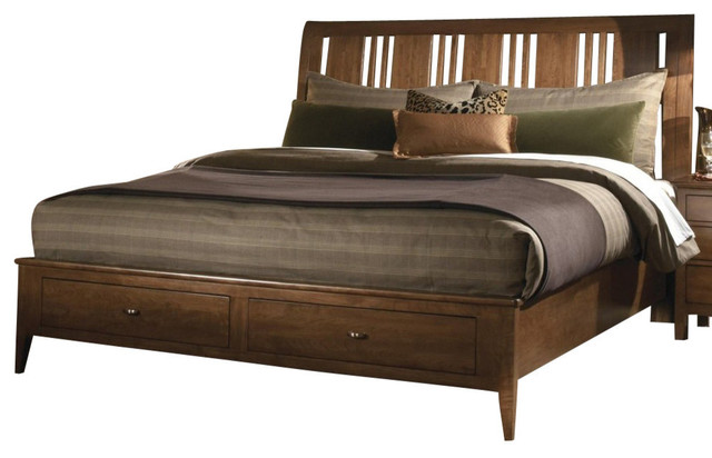 Kincaid Cherry Park Solid Wood Queen Sleigh Storage Bed Traditional Furniture By Bedroom