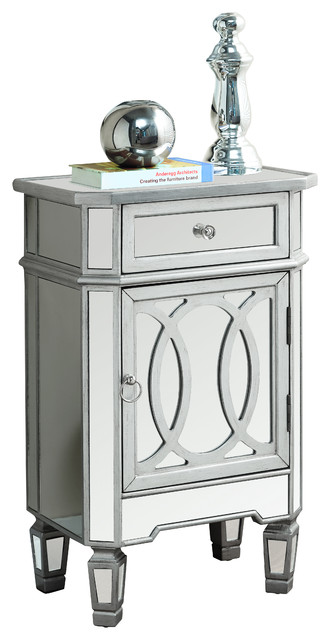Glamourous Mirrored Accent Cabinet traditional-nightstands-and-bedside-tables