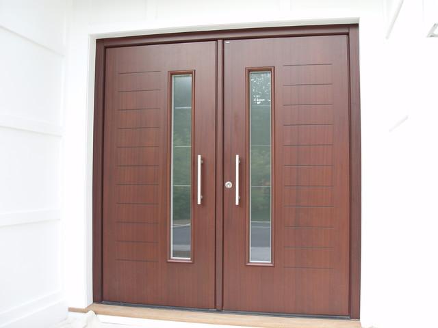 contemporary double door exterior custom designed double front door in mahagony finish