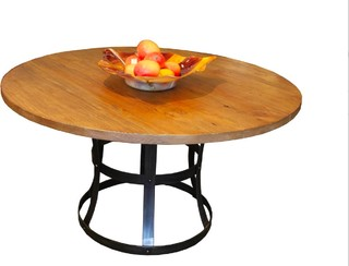 Round detroit dining table in reclaimed wood and for Salvaged wood los angeles