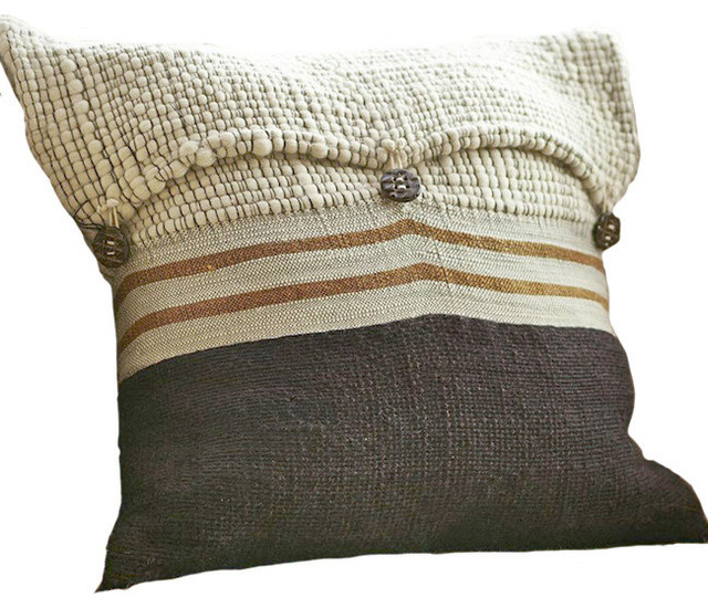 Button Knit Pillow Chocolate Rustic Decorative Pillows