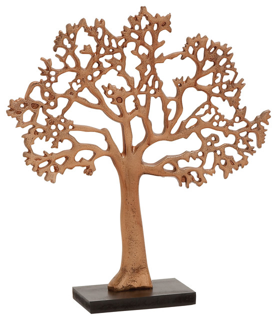 Sleek and modern inspired style aluminum copper tree home for Modern home decor objects