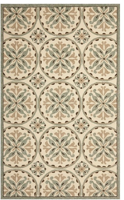 Contemporary 200 Four Season 5 x8 Rectangle Green Brown Area Rug F
