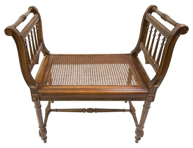 antique wood bench with cane seat indoor benches by