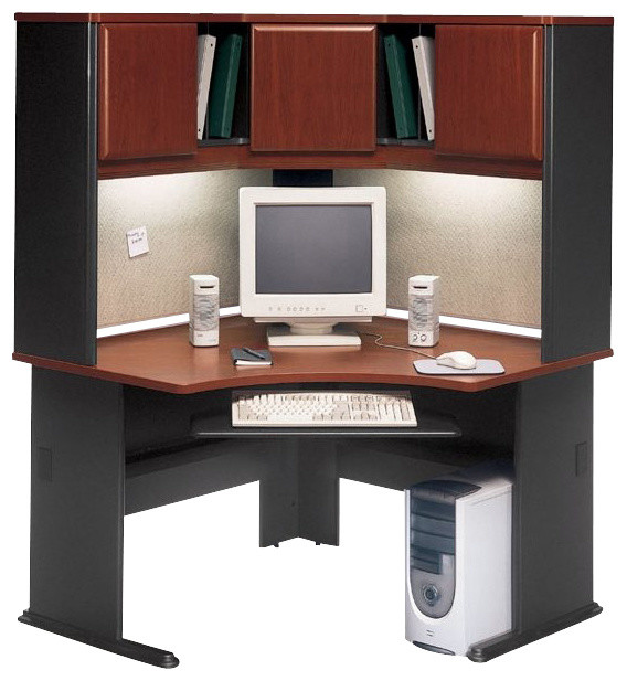 Bush Series A 48quot Corner Computer Desk with Hutch in  : transitional desks and hutches from www.houzz.com size 568 x 617 jpeg 80kB