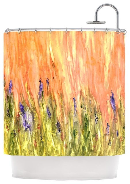 Rosie Brown Welcome Spring Orange Green Shower Curtain Contemporary Shower Curtains By