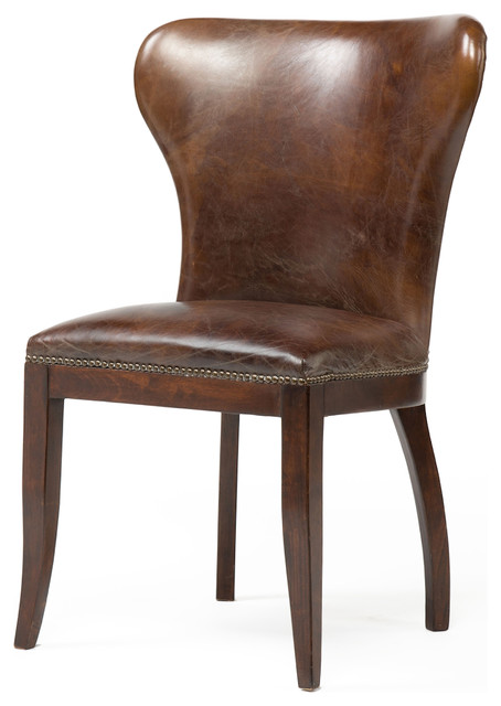 Cornelius Top Grain Cigar Brown Leather Dark Wood Dining  : rustic dining chairs from www.houzz.co.uk size 454 x 640 jpeg 48kB
