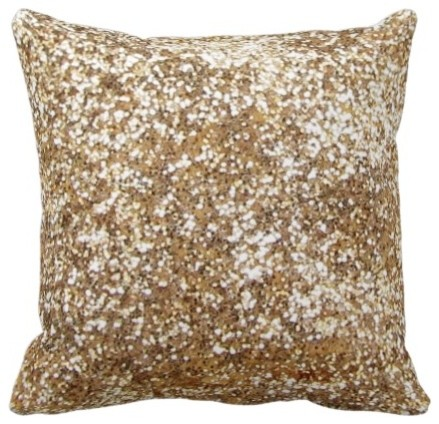 Modern Gold Pillows : Gold Bling-Diamond-Glitter-Shine Throw Pillow - Contemporary - Decorative Pillows - by Zazzle