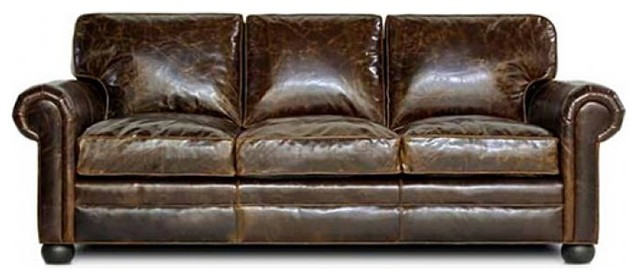 Sedona leather sofa brompton cocoa 90 inch traditional for 90 inch couch