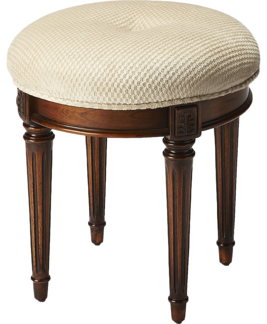 Wood Burl Finish Vanity Stool Contemporary Vanity Stools And Benches By