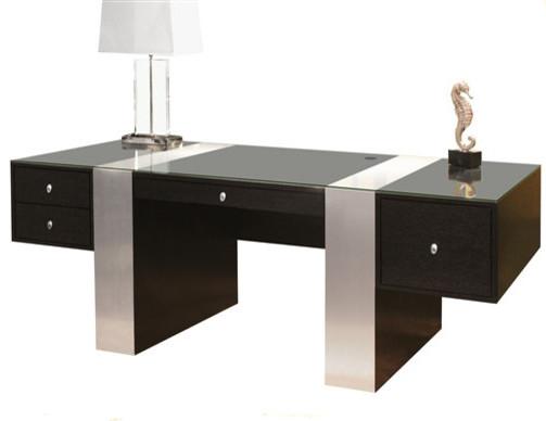 Premium modern desk wenge and brushed aluminum classique chic meuble bur - Meuble classique chic ...