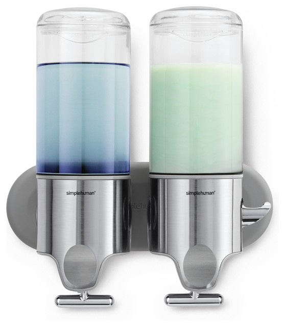 Twin wall mount pumps contemporary soap and lotion dispensers - Wall mounted shampoo and conditioner dispenser ...
