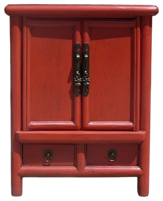Red lacquer chinese hardware end table nighstand asian for Japanese bedside table