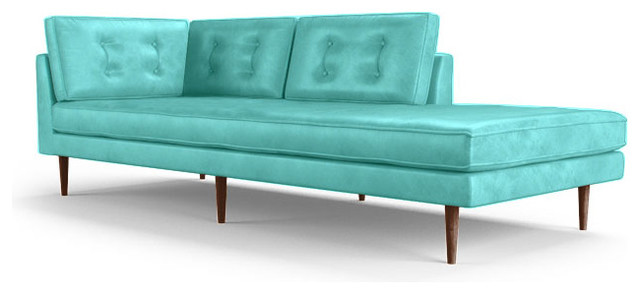 Braxton leather bumper chaise brighton polinesia blue for Blue leather chaise