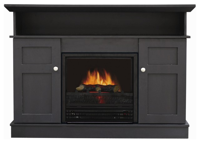 Monte Carlo Electric Fireplace Tv Stand Black Modern Indoor Fireplaces By Shop Chimney