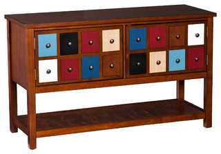 Upton Home Primrose Multicolor And Brown Mahogany Apothecary Console And Tv Stan Contemporary