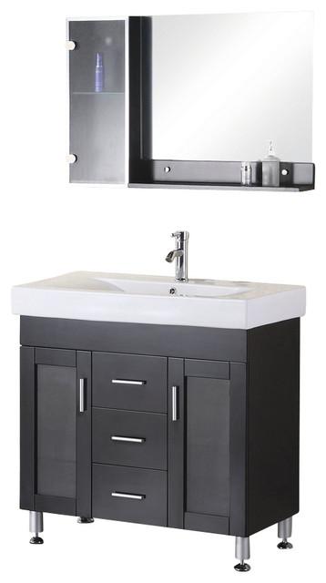 Design Element Milan Espresso Modern Single Drop In Sink Vanity Set 36 Modern Bathroom