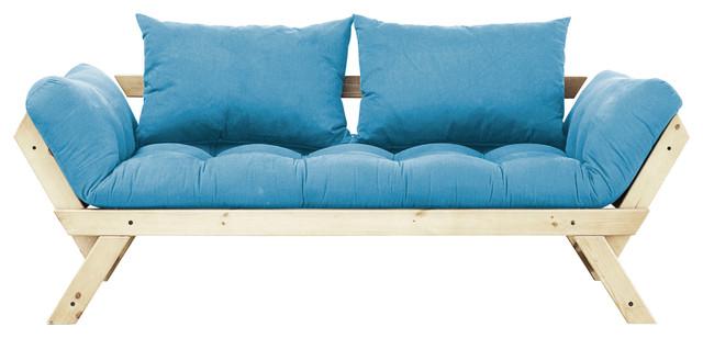 Fresh Futon Bebop Convertible Futon Sofa/Bed, Natural Frame, Horizon Blue  Mattre Contemporary