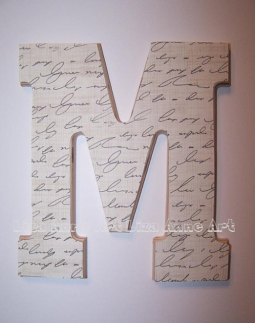 Wooden wall letter design 12 by liza anne art modern Wall letters decor