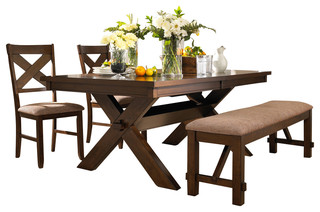 piece kraven dining room set in dark hazelnut traditional dining