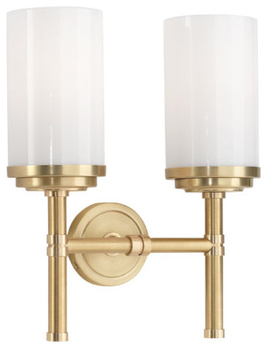 Robert Abbey Halo Brushed Brass Double Sconce 1325