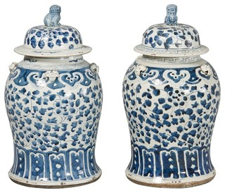 Pair Porcelain Blue And White Baluster Jars Asian Home