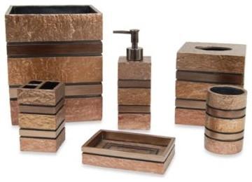 Vitello waste basket set contemporary bathroom for Bathroom wastebasket sets