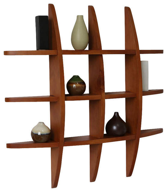 Lexington Grid Wall Shelf, Honey Oak - Contemporary - Display And Wall Shelves - by Welland