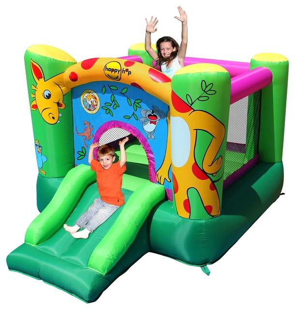 Happy hop ch teau gonflable motif girafe avec trampoline et toboggan contem - Chateau gonflable happy hop ...