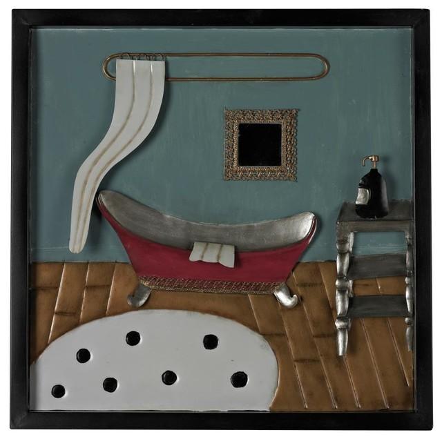 Metal Wall Art For A Bathroom : Bathroom metal wall decor