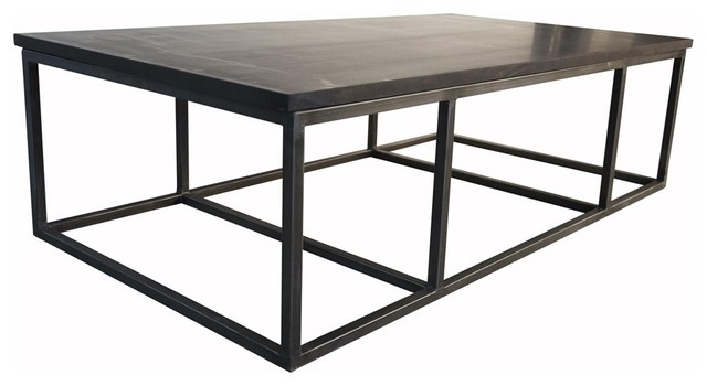 Noir Stone Coffee Table With Metal Large Contemporary Coffee Tables By Ldc Home