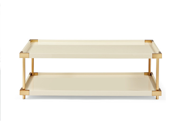 Selma Ivory Lacquered Two Tier Cocktail Table Contemporary Coffee Tables By Mortise