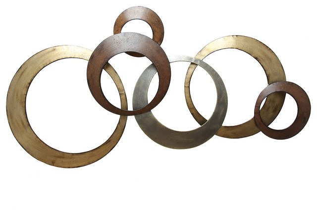 Gold Circles Wall Decor : Circles wall decor gold and brown contemporary