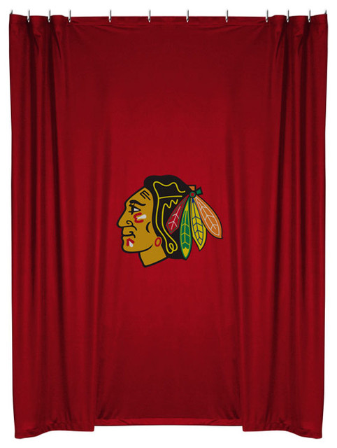 Nhl Chicago Blackhawks Shower Curtain Bathroom Accessories Shower Curtains By Obedding