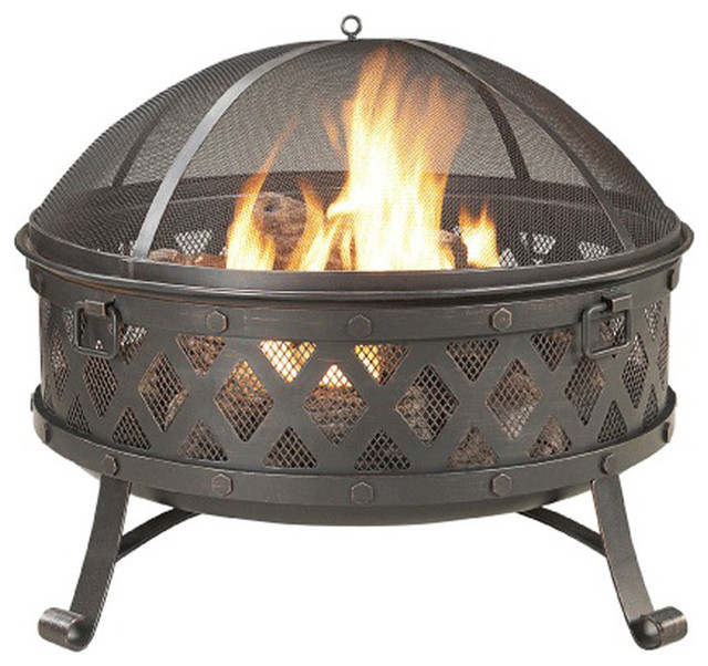 Garden Treasures Black High Temperature Paint Steel Wood Burning Fire Pit Contemporary Fire