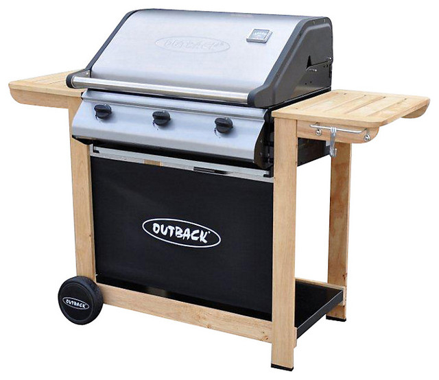 Outback Hunter Select 3 Burner Wood Trolley Gas Barbecue ...
