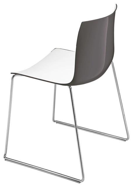 Catifa 46 stuhl mit kufen zweifarbig wei anthrazit for Stuhl mit kufen