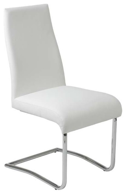 Eurostyle rooney low back side chair in white leatherette for Modern low back dining chairs