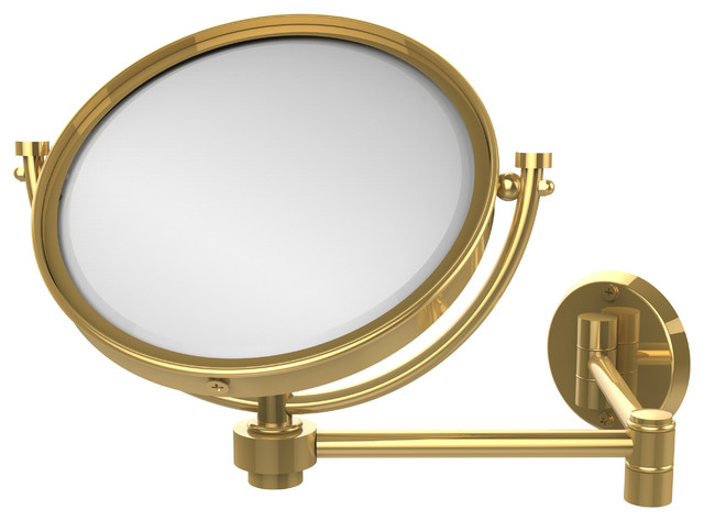 "Rectangular Over Mirror Light In Matt Nickel Or Polished Chrome: 8"" Wall Mirror Extends 14"" 3x, Polished Brass"