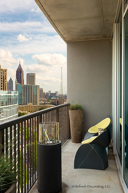 Small condo balcony transitional deck atlanta by for Condo balcony decorating ideas