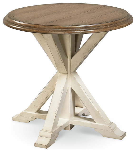 Coastal oak round end table white beach style side for Round coastal coffee table