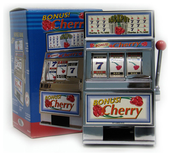 Cherry Bonus Slot Machine Bank with Spinning Reels by Trademark Poker - Traditional - Sports And ...