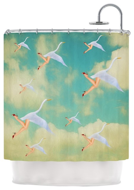 Natt Swan Teal Yellow Shower Curtain