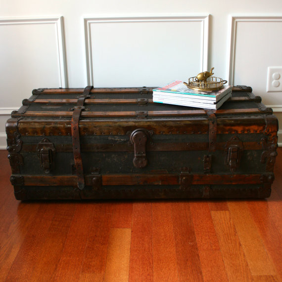 Antique Steamer Trunk Coffee Table By Rhapsody Attic