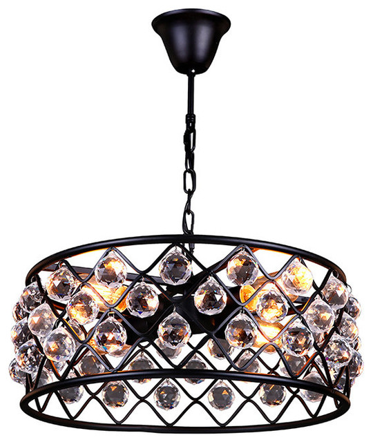 4 Lights Industrial Style Crystal Pendant Light From