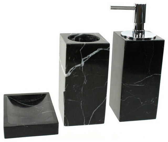 Black marble bathroom accessory set in 3 pieces for Black bath accessories sets