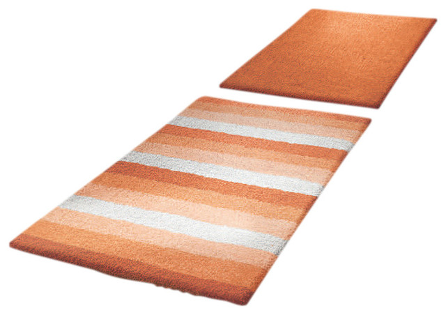 Orange Unique Reversible Cotton Bathroom Rug Summer