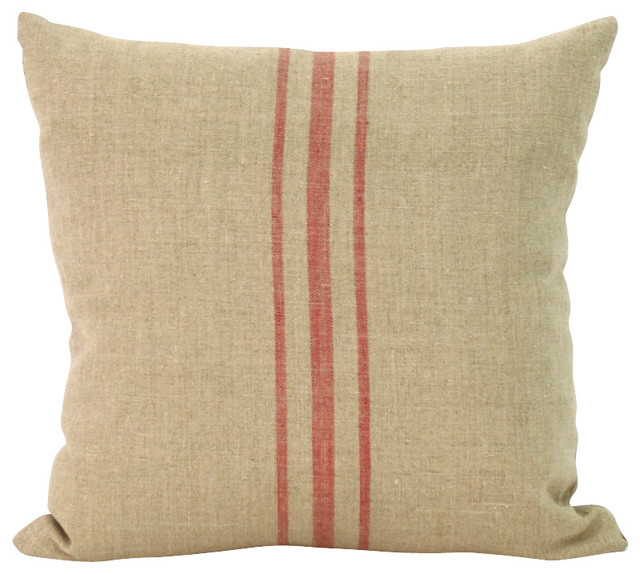 Linen Striped Pillow - Beach Style - Decorative Pillows - Other - by Zentique, Inc.