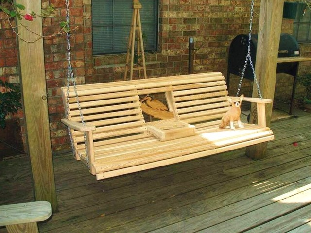 Cypress Swing W Cup Holder Traditional Patio Furniture